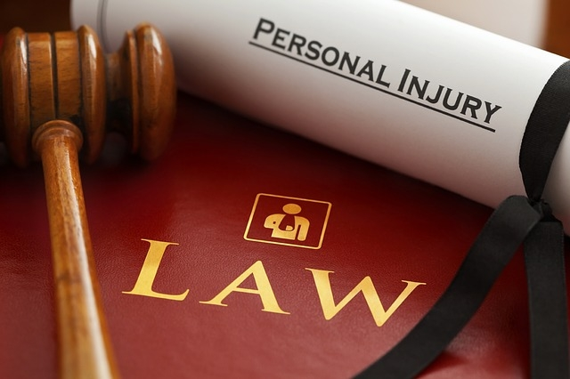 A gavel with a personal injury note